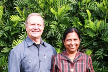 The Gingras at the People's Development Training Center they helped build in India